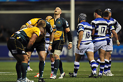 Sam Dickinson (Northampton) shows his relief at the final whistle - Photo mandatory by-line: Patrick Khachfe/JMP - Tel: Mobile: 07966 386802 23/05/2014 - SPORT - RUGBY UNION - Cardiff Arms Park, Cardiff - Bath Rugby v Northampton Saints - Amlin Challenge Cup Final.