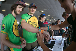 Aldo Nuenlist and Stephan Froehlicher registering during the pre race events held at the V&A Waterfront in Cape Town prior to the start of the 2017 Absa Cape Epic Mountain Bike stage race held in the Western Cape, South Africa between the 19th March and the 26th March 2017<br /> <br /> Photo by Mark Sampson/Cape Epic/SPORTZPICS<br /> <br /> PLEASE ENSURE THE APPROPRIATE CREDIT IS GIVEN TO THE PHOTOGRAPHER AND SPORTZPICS ALONG WITH THE ABSA CAPE EPIC<br /> <br /> ace2016