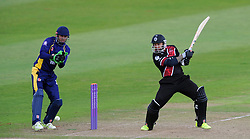 Somerset's Peter Trego cuts the ball - Photo mandatory by-line: Harry Trump/JMP - Mobile: 07966 386802 - 29/07/15 - SPORT - CRICKET - Somerset v Durham - Royal London One Day Cup - The County Ground, Taunton, England.