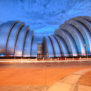 Kauffman Center for the Performing Arts in blue light leading up to the Major League Baseball All-Star Game on July 10, 2012 in Kansas City, Missouri.