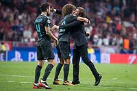 Chelsea's Cesc Fabregas, David Luiz and coach Antonio Conte celebrating the victory during UEFA Champions League match between Atletico de Madrid and Chelsea at Wanda Metropolitano in Madrid, Spain September 27, 2017. (ALTERPHOTOS/Borja B.Hojas)