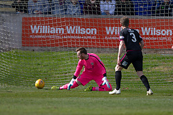 Arbroath's keeper Darren Jamieson can't stop Brechin City's Michael Miller goal. half time : Brechin City 1 v 1 Arbroath, Scottish Football League Division One played 13/4/2019 at Brechin City's home ground Glebe Park.