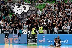 Partizan fans during final match of Basketball NLB League at Final Four tournament between KK Union Olimpija (SLO) and Partizan Belgrade (SRB), on April 21, 2011 at SRC Stozice, Ljubljana, Slovenia. (Photo By Matic Klansek Velej / Sportida.com)