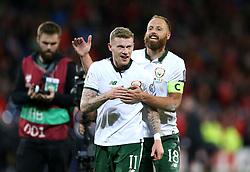 Republic of Ireland's James McClean (left) and Republic of Ireland's David Meyler celebrate after the final whistle of the 2018 FIFA World Cup Qualifying Group D match at the Cardiff City Stadium, Cardiff. PRESS ASSOCIATION Photo. Picture date: Monday October 9, 2017. See PA story SOCCER Wales. Photo credit should read: Nigel French/PA Wire. RESTRICTIONS: Editorial use only, No commercial use without prior permission.