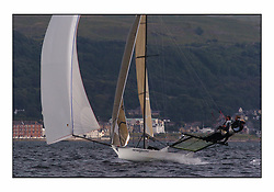 The 2004 Skiff Nationals at Largs held by the SSI.<br /> <br /> Henri Lloyd helmed by Peter Barton with Martin Borrett and <br /> <br /> Marc Turner / PFM Pictures