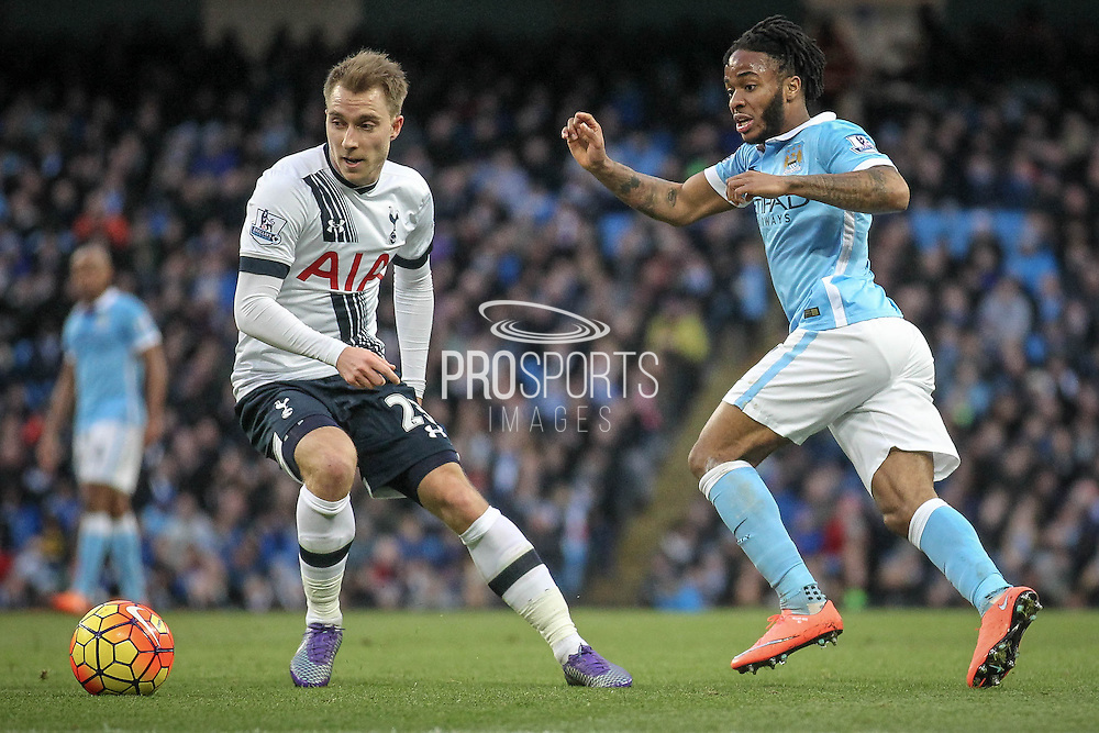 Christian Eriksen (Tottenham Hotspur) and Raheem Sterling (Manchester City) during the Barclays Premier League match between Manchester City and Tottenham Hotspur at the Etihad Stadium, Manchester, England on 14 February 2016. Photo by Mark P Doherty.