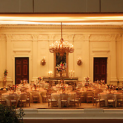 A scale model of the real White House is on display at the Reagan Library in Simi Valley, California. This is the State Dining Room and features tiny settings of official White House china.