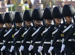 April 28, 2019 - Bangkok, Thailand - Soldiers are seen marching during the processions rehearsal ahead of the royal coronation of Thailand's King Maha Vajiralongkorn odindradebayavarangkun (Rama X) in Bangkok. (Credit Image: © Chaiwat Subprasom/SOPA Images via ZUMA Wire)