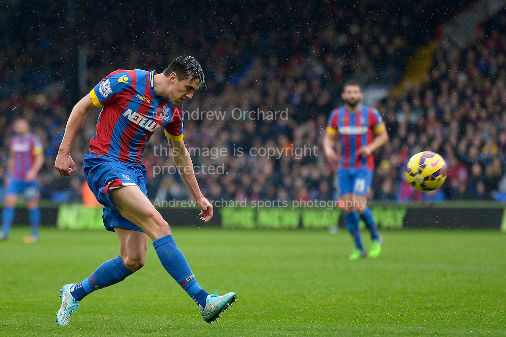 Martin Kelly of Crystal Palace in action.  Barclays Premier league match, Crystal Palace v Liverpool at Selhurst Park in London on Sunday 23rd November 2014.<br /> pic by John Patrick Fletcher, Andrew Orchard sports photography.