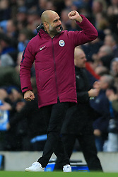 21st October 2017 - Premier League - Manchester City v Burnley - Man City manager Pep Guardiola celebrates their 3rd goal - Photo: Simon Stacpoole / Offside.