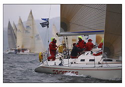 The first mornings racing at the Bell Lawrie Yachting Series in Tarbert Loch Fyne .Damp and light conditions made the conditions challenging for the competitors...Scott Chambers at the helm of Sigma 400 Sunrise GBR4754T in Class two..