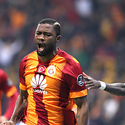 Galatasaray's Aurelien Bayard Chedjou Fongang celebrate his goal with team mate during their Turkish Super League soccer match Galatasaray between Kayseri Erciyesspor at the AliSamiYen Spor Kompleksi TT Arena at Seyrantepe in Istanbul Turkey on Friday, 27 February 2015. Photo by Batuhan AKICI/TURKPIX