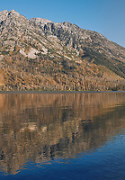 Early Morning Jenny Lake Reflections Panorama. Image Four of Six.