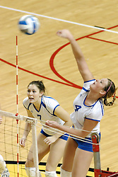 24 November 2006:  Amanda Cvejdlik swings for a kill during a Quarterfinal match between the Illinois State University Redbirds and the Creighton University Bluejays. The Tournament was held at Redbird Arena on the campus of Illinois State University in Normal Illinois.<br />