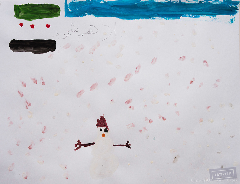 A snowman with the Free Syrian flag. Drawing by 10-12 yr old boy, from art session with the neighborhood boys--not from the school. Topic for session: what do you dream about or hope for?