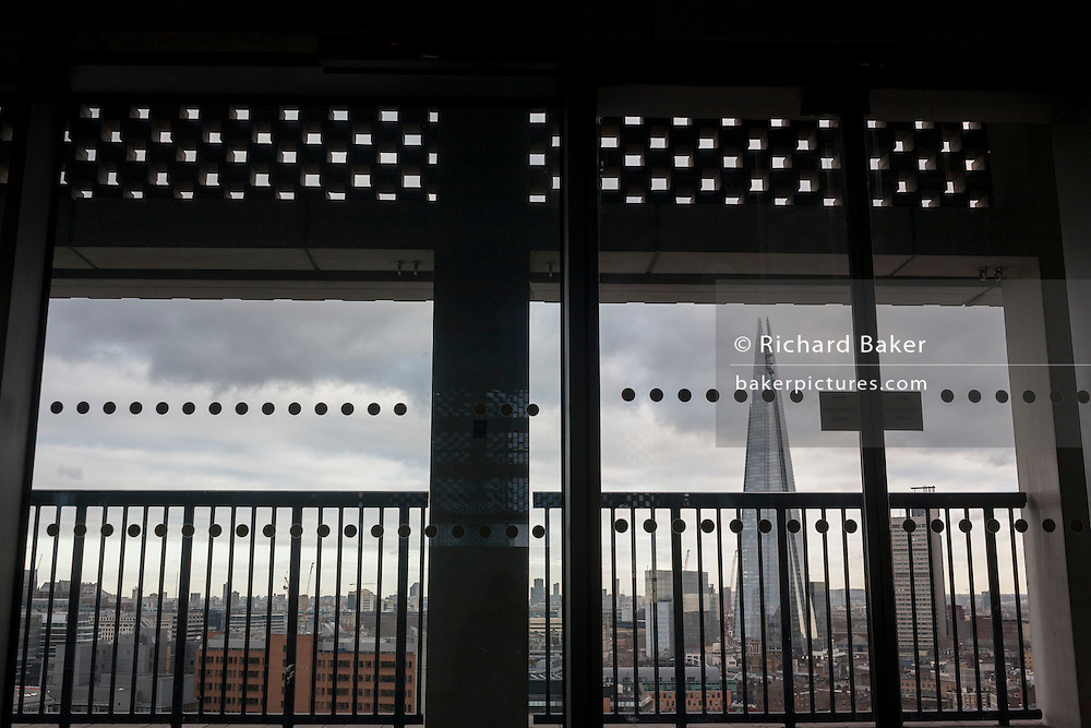 The London cityscape including the Shard, from the viewing terrace at Tate Modern art gallery, on 13th January 2017 in London, England.