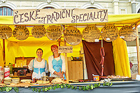 Women working in a food tent during a festival in the town of Cesky Krumlov in the Czech Republic