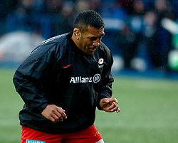 Mako Vunipola of Saracens during the pre match warm up<br /> <br /> Photographer Simon King/Replay Images<br /> <br /> European Rugby Champions Cup Round 4 - Cardiff Blues v Saracens - Saturday 15th December 2018 - Cardiff Arms Park - Cardiff<br /> <br /> World Copyright © Replay Images . All rights reserved. info@replayimages.co.uk - http://replayimages.co.uk