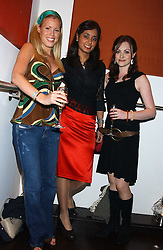 Left to right, EMMA NOWELLI, HARSHA GOPOL and singer CASSIE COMPTON who was a finalist in TV's X factor at a party to celebrate the opening in London of Delhi's finest Indian restaurant Moti Mahal at 45 Great Queen Street, London WC2 on 27th July 2005.<br /><br />NON EXCLUSIVE - WORLD RIGHTS
