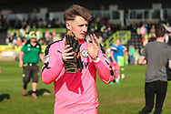 Forest Green Rovers goalkeeper Bradley Collins(1) during the EFL Sky Bet League 2 match between Forest Green Rovers and Chesterfield at the New Lawn, Forest Green, United Kingdom on 21 April 2018. Picture by Shane Healey.
