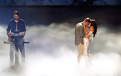 Andrew Taggart and Halsey perform during the show at the MTV Video Music Awards 2016, Madison Square Garden, New York City.