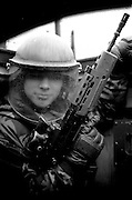 A British soldier on a patrol from 'Fort Apache' in Belfast, Northern Ireland.