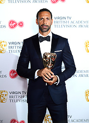 Rio Ferdinand with his award for Best Single Documentary in the press room at the Virgin TV British Academy Television Awards 2018 held at the Royal Festival Hall, Southbank Centre, London.