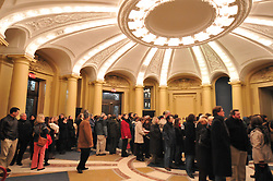 Folks arriving inside the Woolsey Hall Rotunda before the Concert: Century on a Spree: The Whiffenpoof Centennial (1909-2009)