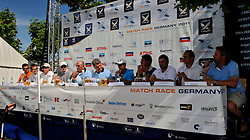 The skippers from the finals attend the press conference. Photo: Chris Davies/WMRT