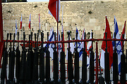 Israel, Jerusalem Wailing Wall, M16 Rifles Awaiting a military ceremony