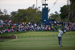 March 16, 2019 - Ponte Vedra Beach, FL, U.S. - PONTE VEDRA BEACH, FL - MARCH 16: Tommy Fleetwood of England plays a shot on the 18th hole during the third round of THE PLAYERS Championship on March 16, 2019 on the Stadium Course at TPC Sawgrass in Ponte Vedra Beach, Fl. (Photo by David Rosenblum/Icon Sportswire) (Credit Image: © David Rosenblum/Icon SMI via ZUMA Press)
