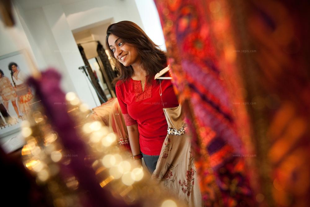 Hotelier and art connoisseur Palak Singh shops at Kavita Bhartia's high end boutique in Khan Market, New Delhi