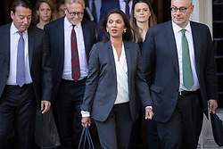 © Licensed to London News Pictures. 19/09/2019. London, UK. Campaigner and business woman Gina Miller (C) smiles as she leaves The Supreme Court in London where the last day of a three day appeal was heard in connection with Prime Minister Boris Johnson's suspension of Parliament. Photo credit: Peter Macdiarmid/LNP