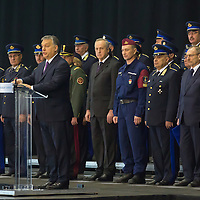 Viktor Orban prime minister of Hungary talks during the ceremony where police officers who applied for the border hunter service take their oath in Budapest, Hungary on January 12, 2017. ATTILA VOLGYI