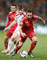 Spain's Santi Cazorla (f) and Belarus' Stanislav Dragun during 15th UEFA European Championship Qualifying Round match. November 15,2014.(ALTERPHOTOS/Acero)