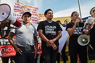Alex and his son Benjamin Ramirez.<br /> Rally and pro-elotero and street vendor demonstration in Los Angeles.<br /> Supporters for Benjamin Ramirez and LA area street vendors gathered near the area Ramirez was attacked earlier in the week by an angry citizen.
