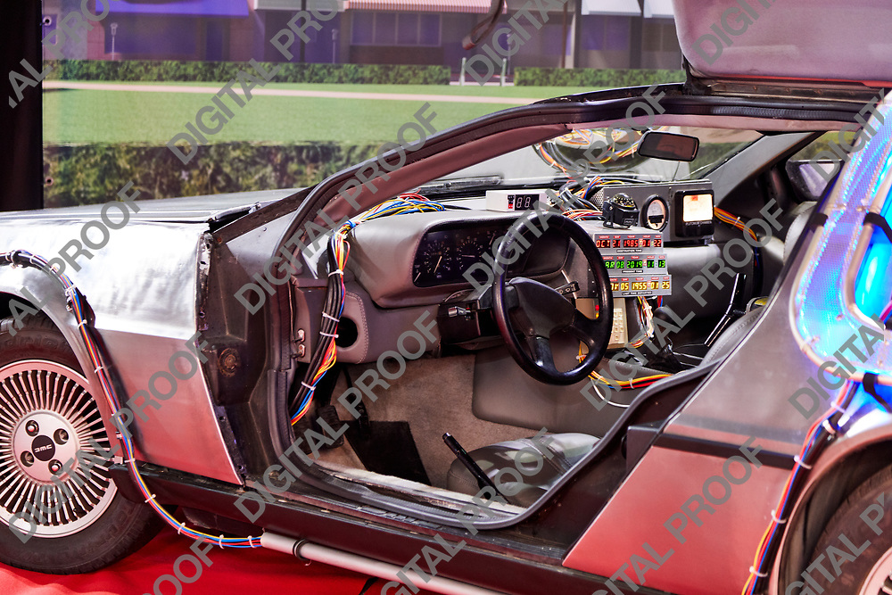 Milan, Italy - March 8 2019 Cartoomics Comic Con a Replica of Back to the Future Car movies on display