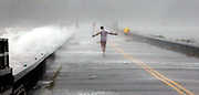 Hurricane Irene. Thrill seekers on the causeway between Old Saybrook and Fenwick Point. Photo by Mara Lavitt/New Haven Register<br /> <br /> 8/28/11