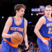 12 March 2015: New York Knicks guard Alexey Shved (1) dribbles next to New York Knicks forward Lou Amundson (21) during the New York Knicks 101-94 victory over the Los Angeles Lakers, at the Staples Center, Los Angeles, California, USA.