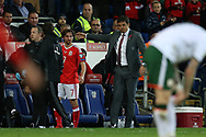 Chris Coleman, the Wales manager looks on as Joe Allen of Wales (7) leaves the field with concussion. Wales v Rep of Ireland , FIFA World Cup qualifier , European group D match at the Cardiff city Stadium in Cardiff , South Wales on Monday 9th October 2017. pic by Andrew Orchard, Andrew Orchard sports photography