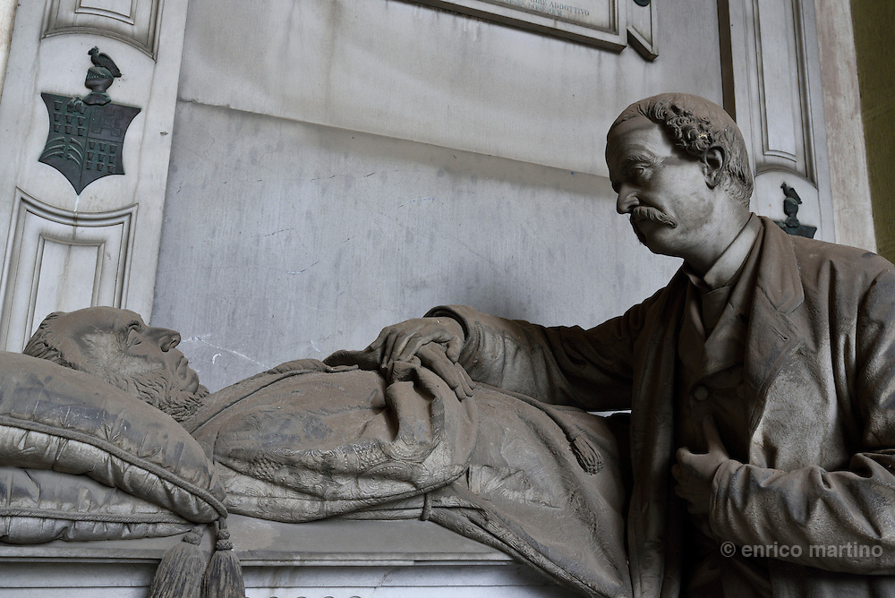 Genoa.  The Cimitero monumentale di Staglieno is famous for its monumental sculpture. Tomba Da Costa by Santo Saccomanno 1887. Covering an area of more than a square kilometre, it is one of the largest cemeteries in Europe.