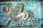 Ancient Persia, Achaemenid Period (530-330 BC) Griffin-Lion relief in glazed brickwork. Louvre, Paris.