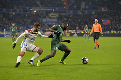 November 23, 2018 - Decines Charpieu - Groupama Sta, France - Lucas Tousart (lyon) vs Yannis Salibur  (Credit Image: © Panoramic via ZUMA Press)