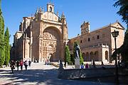 Tourists visiting Convent and church of San Esteban in Plaza del Concilio de Trento, Salamanca, Spain