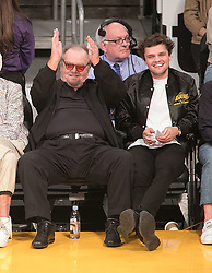 October 20, 2018 - Los Angeles, California, U.S - Jack Nicholson and son, Ray Nicholson attend the NBA game between the Los Angeles Lakers and the Houston Rockets on Saturday October 20, 2018 at the Staples Center in Los Angeles, California. (Credit Image: © Prensa Internacional via ZUMA Wire)