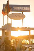 Restaurant on Corniche in sunset sunlight, Casablanca, Morocco