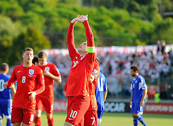Wayne Rooney of England (Manchester United) celebrates putting England 1 up and equaling England's goals scored record  - Mandatory byline: Joe Meredith/JMP - 07966386802 - 05/09/2015 - FOOTBALL- INTERNATIONAL - San Marino Stadium - Serravalle - San Marino v England - UEFA EURO Qualifers Group Stage