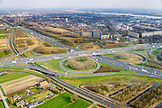 Nederland, Zuid-Holland, Gemeente Gorinchem, 01-04-2016; knooppunt Gorinchem, kruising A27 en A15 (vlnr) met langzaam rijdend en stilstaand verkeer.<br /> Gorinchem junction.<br /> luchtfoto (toeslag op standard tarieven);<br /> aerial photo (additional fee required);<br /> copyright foto/photo Siebe Swart