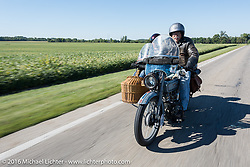 Dawn and Doc Hopkins of Doc's Harley-Davidson in Wisconsin riding their 1915 Harley-Davidson with a wicker sidecar during the Motorcycle Cannonball Race of the Century. Stage-3 from Morgantown, WV to Chillicothe, OH. USA. Monday September 12, 2016. Photography ©2016 Michael Lichter.