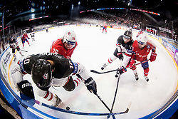 Brayden Schenn of Canada vs Kristian Forsberg of Norway and Sean Couturier of Canada vs Jonas Holos of Norway during the 2017 IIHF Men's World Championship group B Ice hockey match between National Teams of Canada and Norway, on May 15, 2017 in AccorHotels Arena in Paris, France. Photo by Vid Ponikvar / Sportida